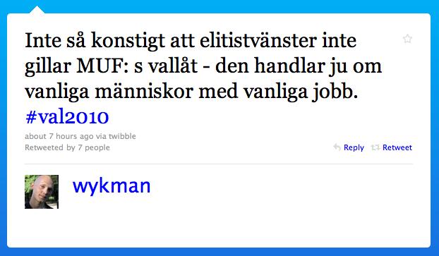 Niklas Wykman säger att alla som inte gillar MUFs vallåt är elitvänster