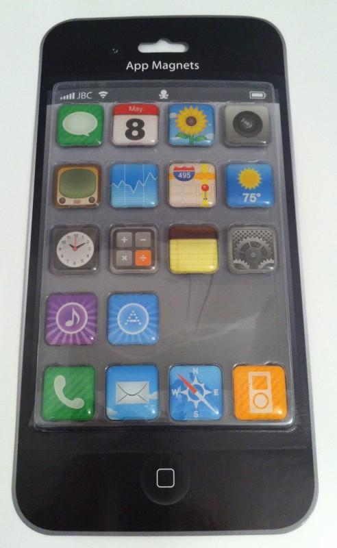 Kylskåpsmagneter i form av iPhone-ikoner