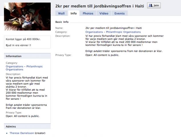 Facebook-gruppen: 2 kr per medlem till jordbävningsoffren i Haiti