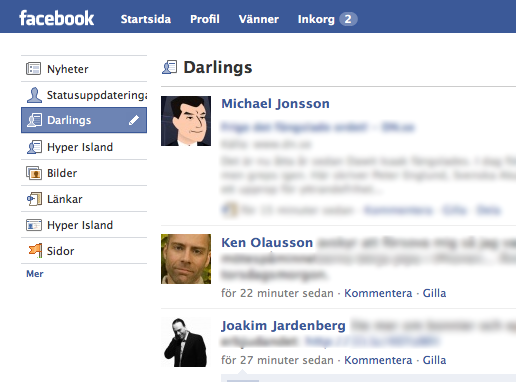 Facebook-navigation med listor