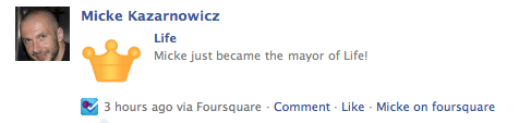 Foursquare-poesi på Facebook
