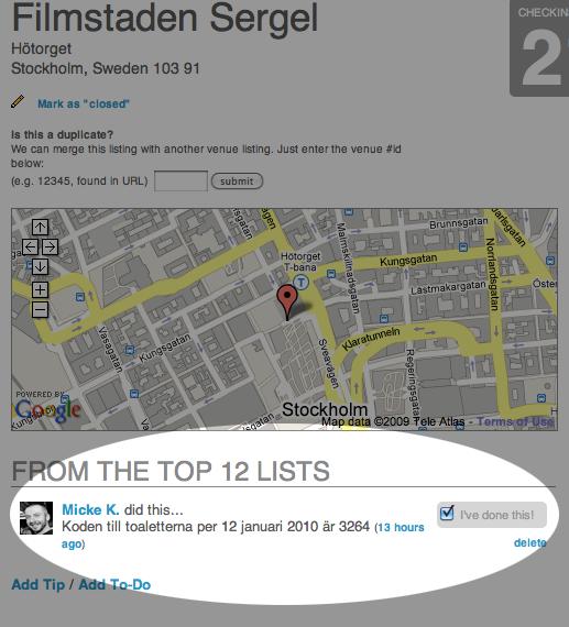 Sociala tips, baserade på geografisk position med hjälp av Foursquare