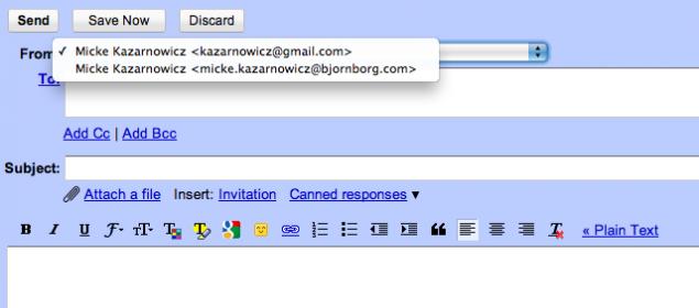 Val mellan flera avsändaradresser i Gmail