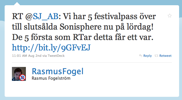 Rasmus retweetade SJ kl. 11.01""
