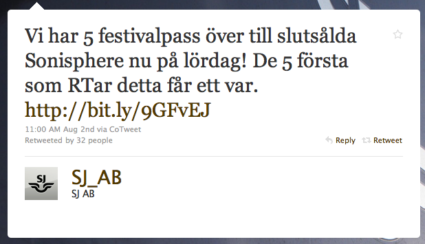 Skärmdump av SJ:s retweet-tävling om Sonicsphere-biljetter