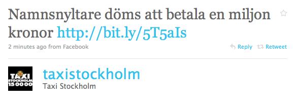 Taxi Stockholms tweet med länk till DN via Facebook