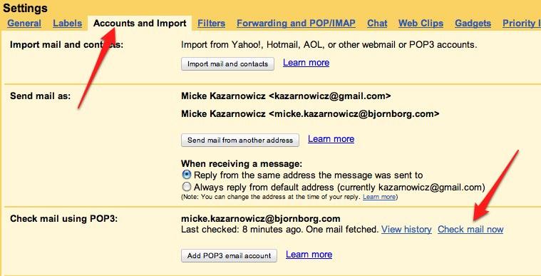 """... på """"refresh mail"""" i mailboxen för att tvinga Gmail att hämta nya mail  från Exchange. Du måste gå in och klicka på """"check mail now"""" i settings  - accounts ... 11338524831d0"""