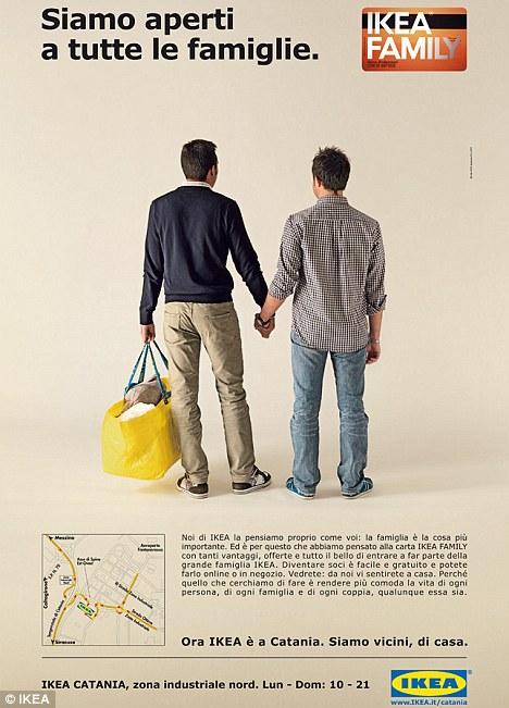 IKEA Family, gayvänlig reklam från Italien