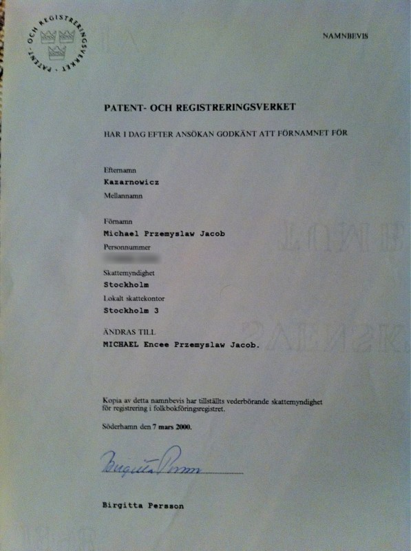 Brevet från PRV där mitt namntillägg encee bekräftas