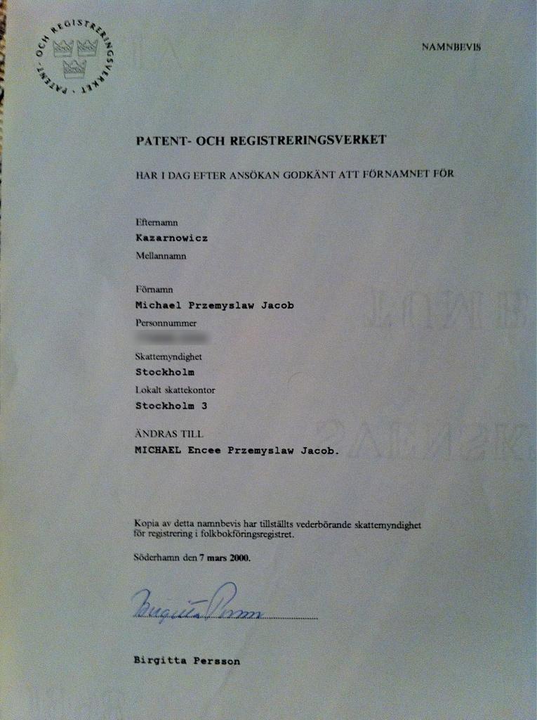 Brevet från PRV där mitt namntillägg encee bekräftas ea06ec0b438c5