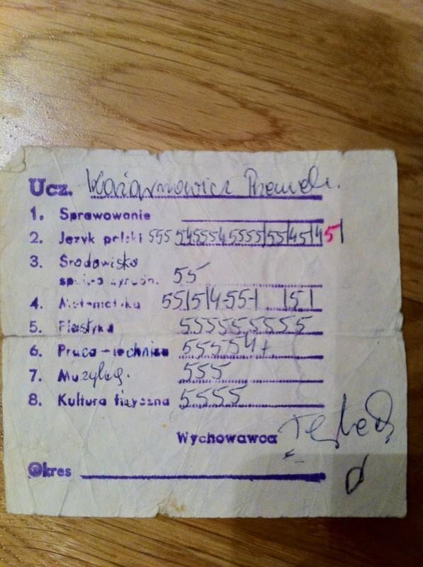 betyg från första klass i Polen anno 1984
