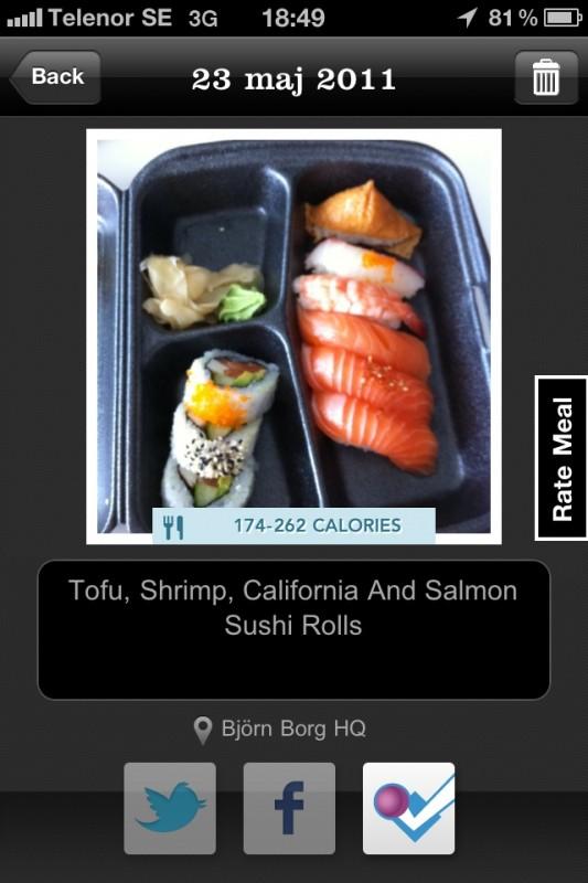 Screenshot från Mealsnap: sushi