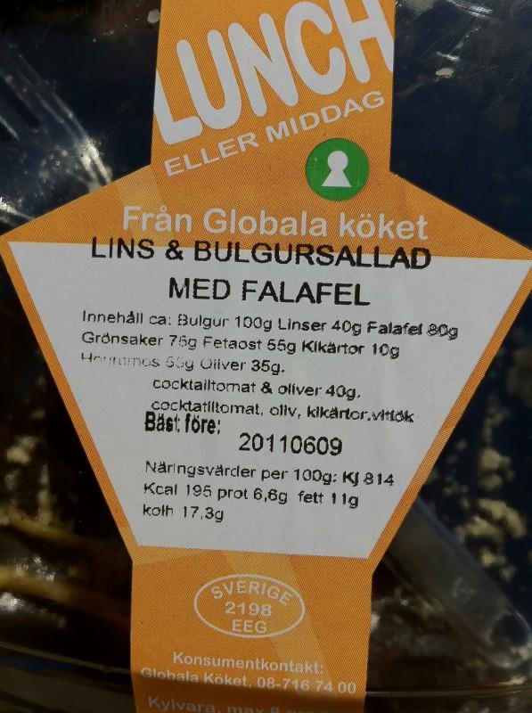 Lins- och bulgursallad med falafel från Det Globala Köket