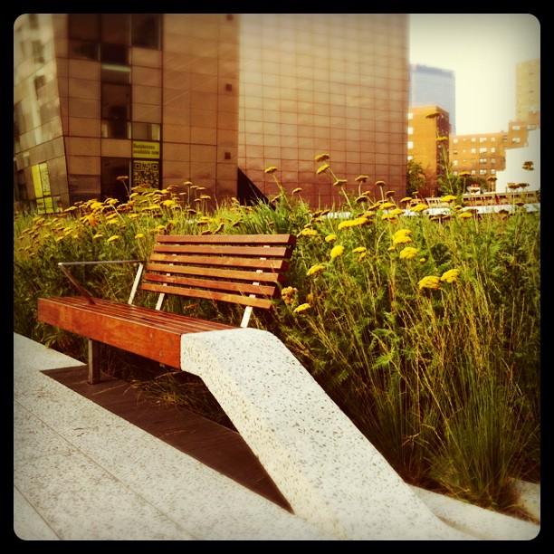 Snygg design av sittbänk på High Line