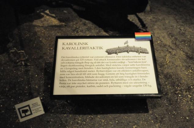 """Regnbågsflaggan markerar delar i basutställningen som ingår i """"Vem äger bilden av historien?"""""""