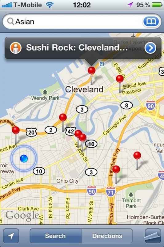 """Sökning efter """"asian"""" i iPhones kart-app"""