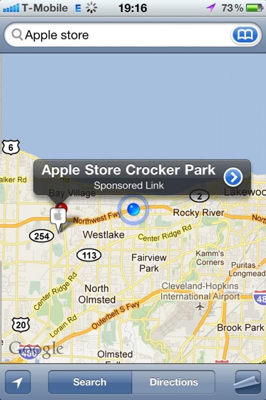 Sponsrad länk i iPhones kart-app