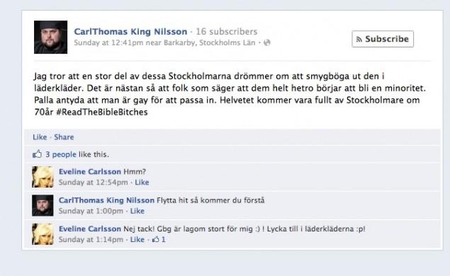 CarlThomas King Nilsson skriver om homosexuella på sin Facebooksida