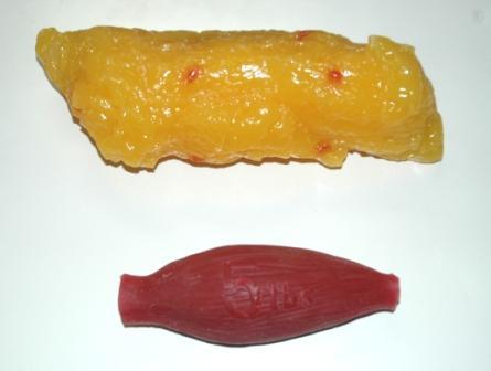 2,3 kilo muskler (rött) och 2,3 kilo fett (gult)